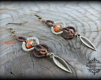 Agate Macrame earrings/handmade micromacrame