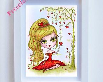 Precolored, Kids decor, Love, Art Girl download, Hearts, Girl Love Art, Girl wall art, Girl Giclee, Childrens Illustration. Love Dreams