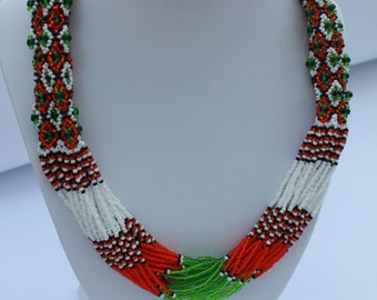 Ethnic Ukrainian Geometric Necklace Seed Bead Necklace Statement Bead Woven Necklace Ethnic Jewelry Long beaded Necklace Ukrainian Jewelry