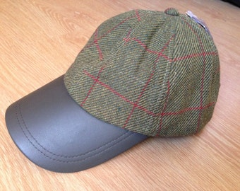 Genuine Leather Peak Tweed Baseball Cap with Durable Water Repellent - Green with Red Stripe - Teflon fabric protector