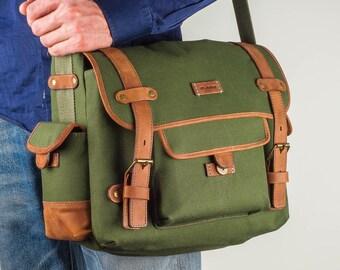 Men Canvas Messenger Bag, Canvas Messenger Bag, Canvas Crossbody Bag Canvas Messenger Leather Messenger Bag  Cotton Shoulder Bag  Travel Bag