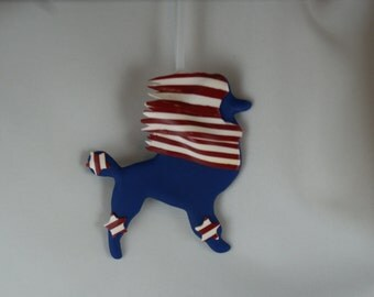 Patriotic, poodle ornament, 4th of July, polymer clay