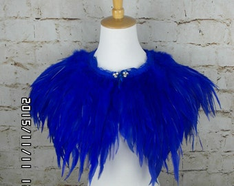 The royal blue feather Collar Shrug Cape