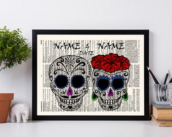 Sugar Skull, Personalized, Wedding Gift, Anniversary Gift, Custom Print with Names & Date on Dictionary Print,Anniversary Wedding, Skull,541