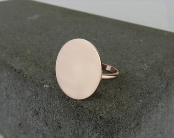 Personalised Silver Big Disc Ring - Free Engraving - Rose Gold or Silver