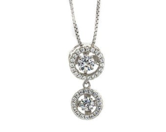 "NANA Silver Round Double Halo Dancing Stone (CZ) Pendant/necklace with an Adj. 0.8mm 22"" Box chain"