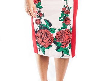 Pencil skirt red flowers