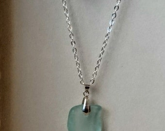 Sea Glass Pendant - Naturally Tumbled Bottle-Neck Piece.