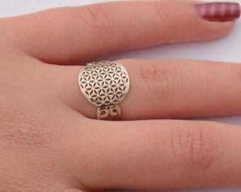Flower of Life Ring, Sacred Geometry Ring, Tribal Ring, Sacred Geometry Jewelry, Ethnic Ring