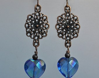 Antique Copper and Blue Heart Earrings