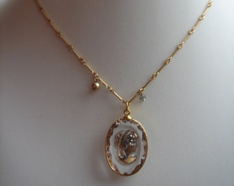 Cameo necklace, beautifully in vintage style, 585 goldfilled