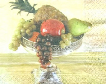 Set of 2 pcs 3-ply Fruits paper napkins for Decoupage or collectibles 33x33 cm, Luncheon napkins