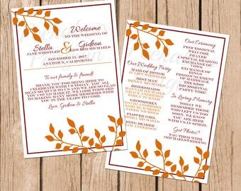 Fall Wedding Program Printable Autumn Ceremony Red