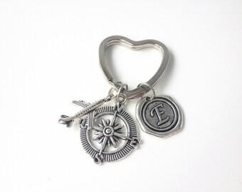 Travel Keychain, flight attendant gifts, Travel Gifts, gifts for travelers, pilot keychain, travel gifts for men,women