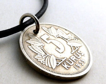 Turkish, Coin necklace, Coin jewelry, Vintage necklace, Leather necklace, Upcycled necklace, Gift for him or her, Pendant, Coins, 1939