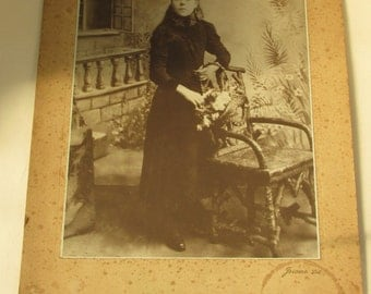 Large Antique Studio Portrait - Austere Victorian Girl with Basket of Flowers