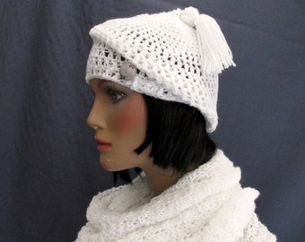 Retro White Crochet Hat with Tassel and Vintage Button.Slouchy Beanie Hat. White Lacy Hat, Pixie Hat. Women's Crochet Pull On Hat