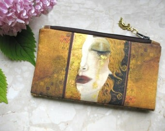 Cosmetic Bag, Klimt bag, phone bag, bridesmaid clutch, Golden Tears