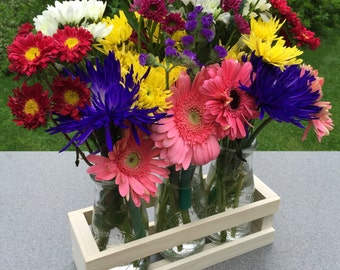 Wood Crate and Milk Bottle Centerpiece