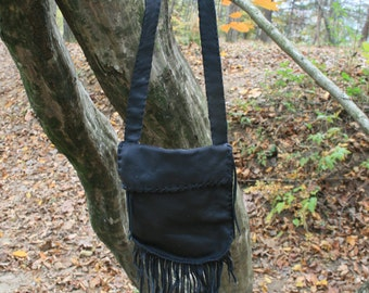 Black leather fringe shoulder bag