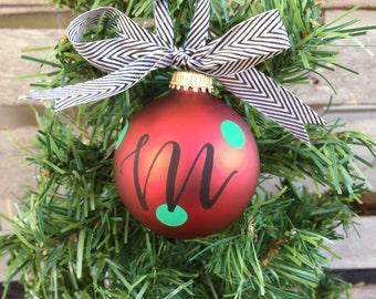 Hand Lettered + Modern Calligraphy Custom Monogrammed + Name Shatterproof Glass Ornament, Christmas Ornament