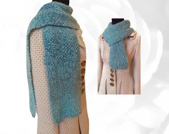 Blue Scarf, Turquoise Scarf, Purple Scarf, Multicolor Scarf, Winter Scarf, Fuzzy Scarf, Warm Scarf, Knitted Scarf, Fashion Scarf, Soft Scarf
