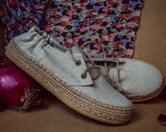 ForRest shoes by ChePick Art! All handmade, natural and vegan! Vintage look and unisex size. New vegan shoes! Linen shoes.