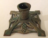 Vintage Cast Iron Mid Century Christmas Tree Stand for Smaller Tree Art Deco Rustic