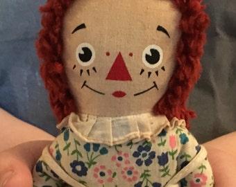 Vintage Raggedy Ann Miniature Cloth Doll by Knickerbocker 1970s Retro
