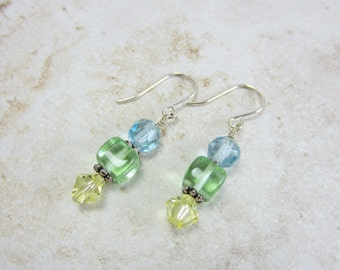 Swarovski crystal earrings, Crystal drop earrings, Lime green earrings, Blue topaz bead earrings, Gift ideas