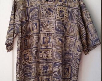 Vintage Tori Richard Hawaiian Shirt Men's XL Polynesian Palm Motif Quality Design Vintage Poipu Bay Kauai