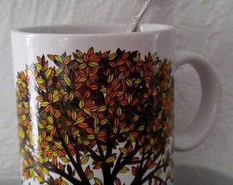 Tree Mugs Vintage Japan Set of 3 Japanese Vintage Fall Colors Mugs Autumn Coffee Cups Falling Leaves Brown Orange Yellow Fall Colors