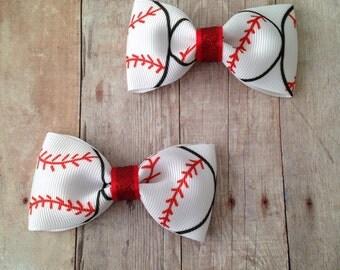 Baseball Tuxedo Bows, Baseball Bows, Set of 2 Tuxedo Bows