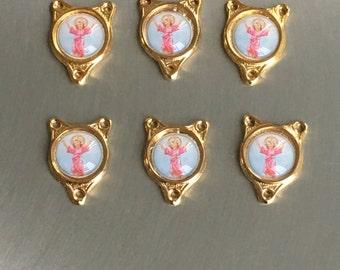 "Divino Nino Jesus Child Rosary Centers Lot of 6  Catholic Medal Divine Child Jesus 1/2"" tall"