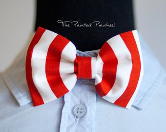 Thick Red Stripe Patterned Bow, Bow Tie, Suspender Set, Pocket Square