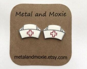 Nurse's Cap Stud Earrings, Nursing School Graduation, Retro Nurse's Uniform, Fun Nurse Gift, Under 10 Dollars, Jewelry Giftcc