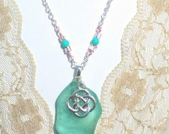 Genuine Turquoise Irish Seaglass Celtic Pendant.