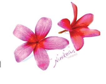 Pink-Plumerias, Flower V-neck T-shirt  –Ninikea, handmade, clothing, women's t-shirts, tees, t-shirts