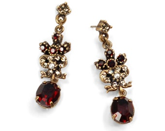 Garnet Earrings, Wedding Earrings, Pearl Earrings, Victorian Earrings, Garnet Jewelry, Red Earrings, Wedding Jewelry, Red Jewelry E958
