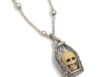 Dungeon Skull Necklace, Gothic Jewelry, Gothic Skull Pendant, Goth Necklace, Skull Jewelry, Steampunk Necklace, Halloween Jewelry N312