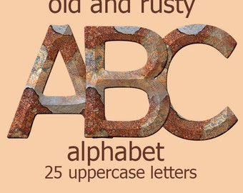 Rusty textured alphabet clipart, metal letters, printable, old rusted digital clipart font with capital letters; for commercial use