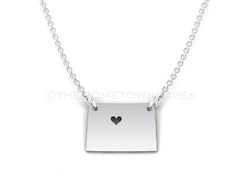 Colorado Necklace - Colorado shaped necklace, I heart Colorado, I heart Colorado necklace