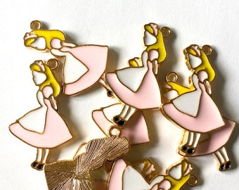 Large Pink Alice in Wonderland Enamel Charms 5pcs