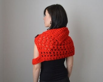 Merino Knit Scarf, Chunky Scarf Wrap, Knit Shawl, Red Knit Scarf, Oversized Scarf Cowl, Knit Capelet Poncho Shrug, Extra Large Wool Scarf