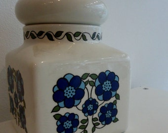 Medium Taunton Vale blue and white flower power kitchen storage jar 1970s