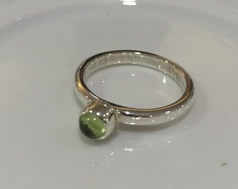 chrysolite silver ring - green stone ring - gold ring - silver ring - natural stone ring - delicate ring - gift