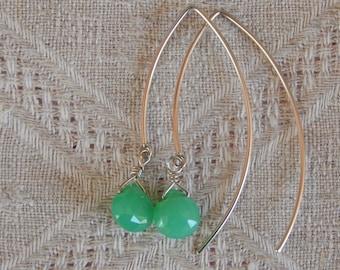 Chrysoprase Earrings, Chrysoprase & Sterling Earrings, Chrysoprase 14 Kt Gold Filled Earrings, Chrysoprase Briolette Earrings, Chrysoprase