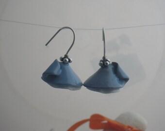 Blue Enamel Flower Earrings, Sterling