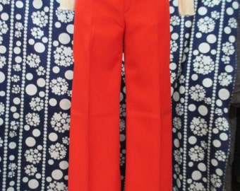 """1970s Pantaloni a zampa rossi. Fondo di magazzino by """"Jousee""""/1970s flared red trousers/wool gabardine/""""Jousse"""" made in France/ Boho/Hippie"""