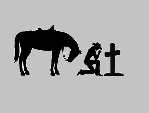 Cowgirl Praying Cross Praying Decal Christan Window Sticker